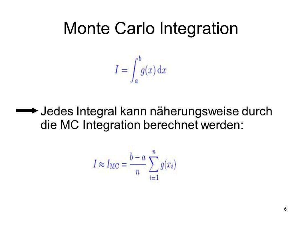 6 Monte Carlo Integration Jedes Integral kann näherungsweise durch die MC Integration berechnet werden:
