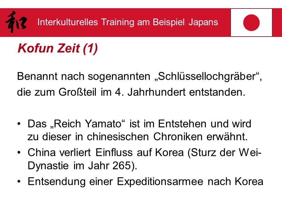 Interkulturelles Training am Beispiel Japans Kofun Zeit (1) Benannt nach sogenannten Schlüssellochgräber, die zum Großteil im 4. Jahrhundert entstande