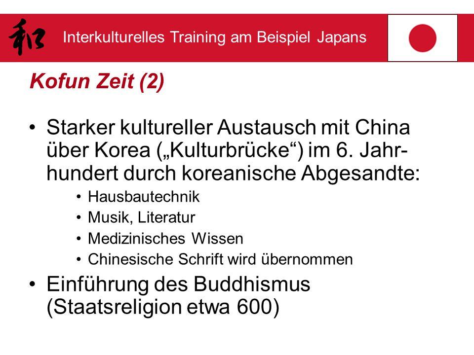 Interkulturelles Training am Beispiel Japans Kofun Zeit (2) Starker kultureller Austausch mit China über Korea (Kulturbrücke) im 6. Jahr- hundert durc