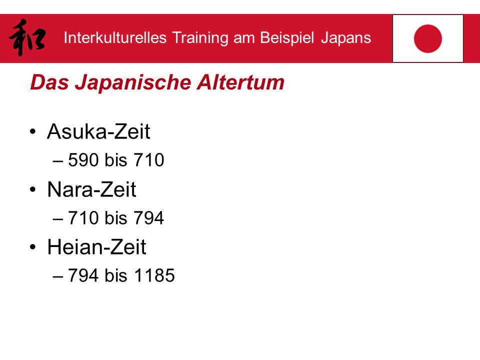 Interkulturelles Training am Beispiel Japans Das Japanische Altertum Asuka-Zeit –590 bis 710 Nara-Zeit –710 bis 794 Heian-Zeit –794 bis 1185