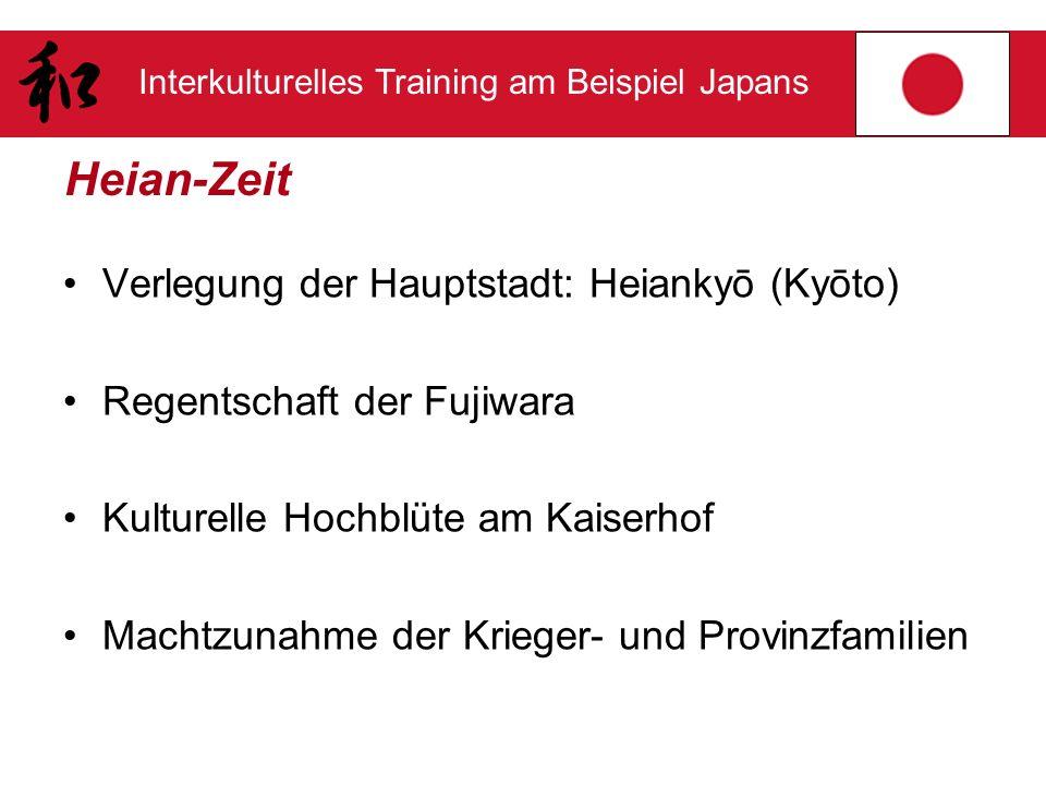 Interkulturelles Training am Beispiel Japans Heian-Zeit Verlegung der Hauptstadt: Heiankyō (Kyōto) Regentschaft der Fujiwara Kulturelle Hochblüte am K