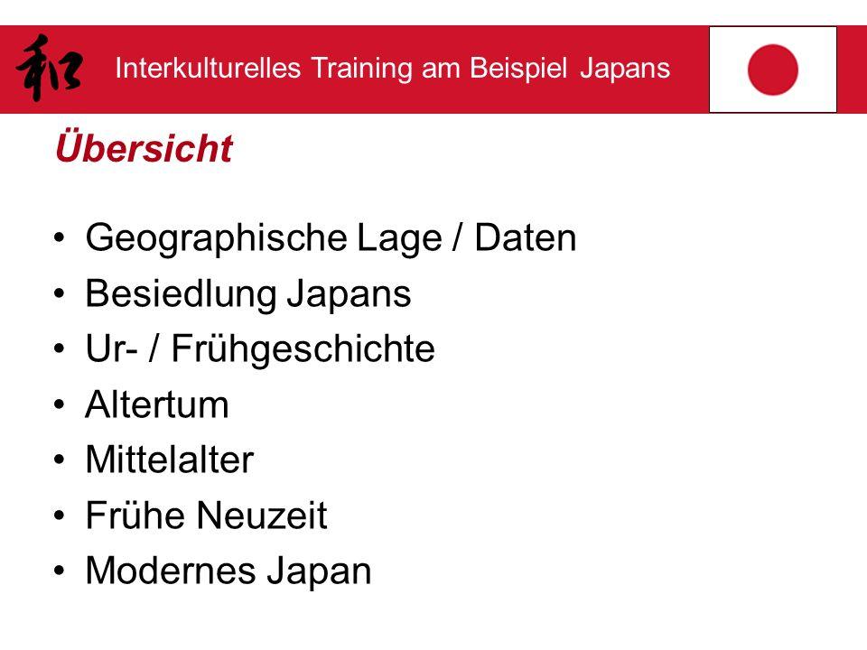 Interkulturelles Training am Beispiel Japans Übersicht Geographische Lage / Daten Besiedlung Japans Ur- / Frühgeschichte Altertum Mittelalter Frühe Ne
