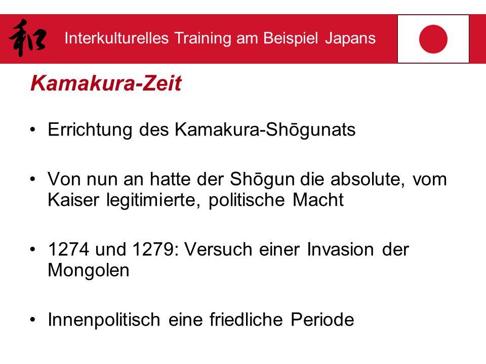 Interkulturelles Training am Beispiel Japans Kamakura-Zeit Errichtung des Kamakura-Shōgunats Von nun an hatte der Shōgun die absolute, vom Kaiser legi