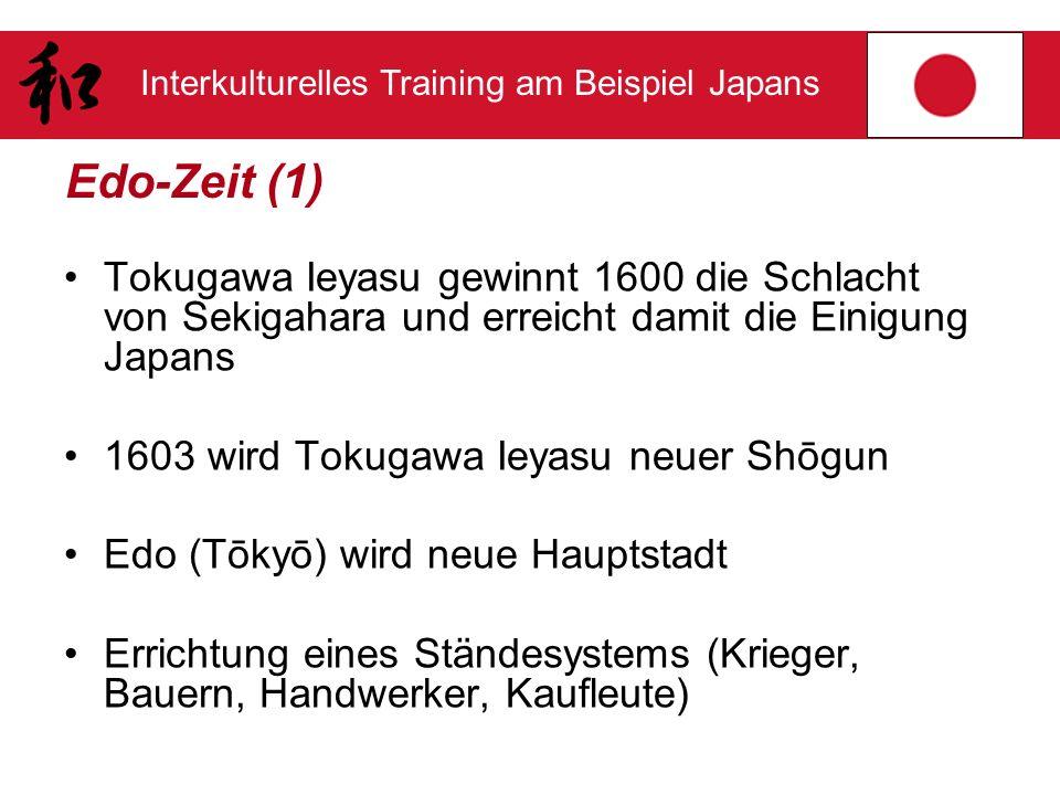Interkulturelles Training am Beispiel Japans Edo-Zeit (1) Tokugawa Ieyasu gewinnt 1600 die Schlacht von Sekigahara und erreicht damit die Einigung Jap