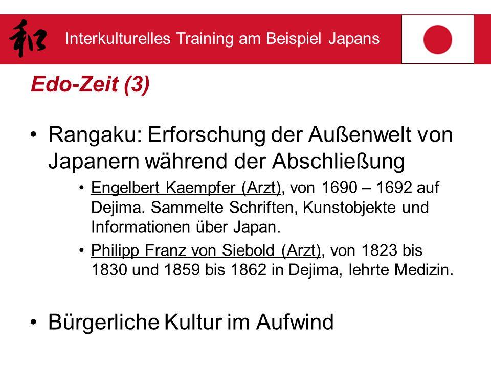 Interkulturelles Training am Beispiel Japans Edo-Zeit (3) Rangaku: Erforschung der Außenwelt von Japanern während der Abschließung Engelbert Kaempfer