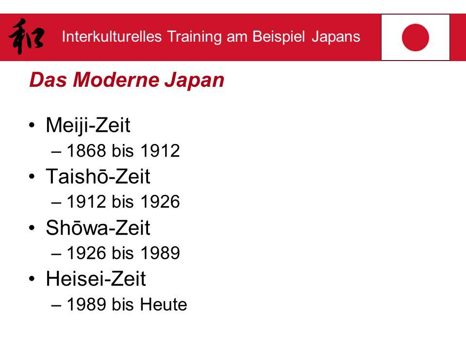 Interkulturelles Training am Beispiel Japans Das Moderne Japan Meiji-Zeit –1868 bis 1912 Taishō-Zeit –1912 bis 1926 Shōwa-Zeit –1926 bis 1989 Heisei-Z