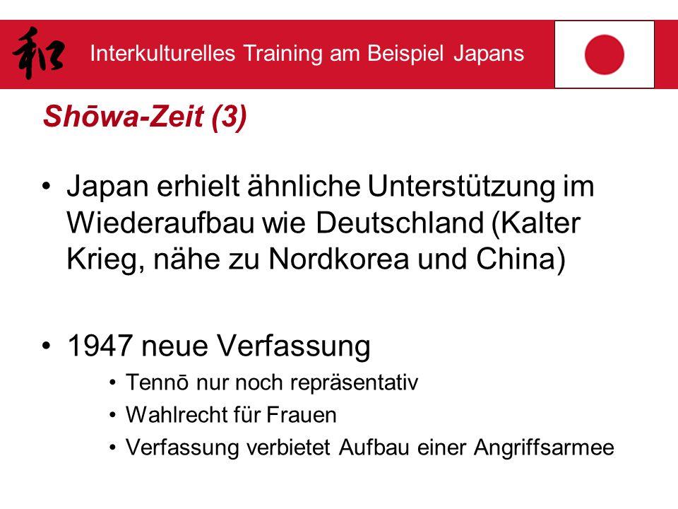 Interkulturelles Training am Beispiel Japans Shōwa-Zeit (3) Japan erhielt ähnliche Unterstützung im Wiederaufbau wie Deutschland (Kalter Krieg, nähe z