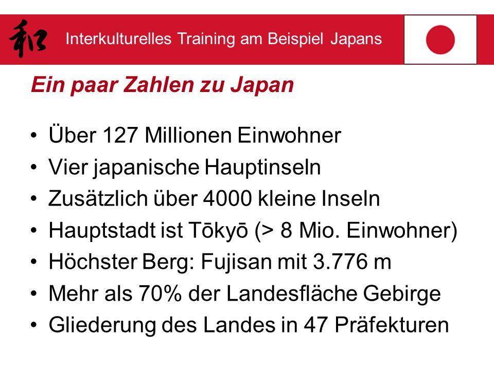 Interkulturelles Training am Beispiel Japans Ein paar Zahlen zu Japan Über 127 Millionen Einwohner Vier japanische Hauptinseln Zusätzlich über 4000 kl