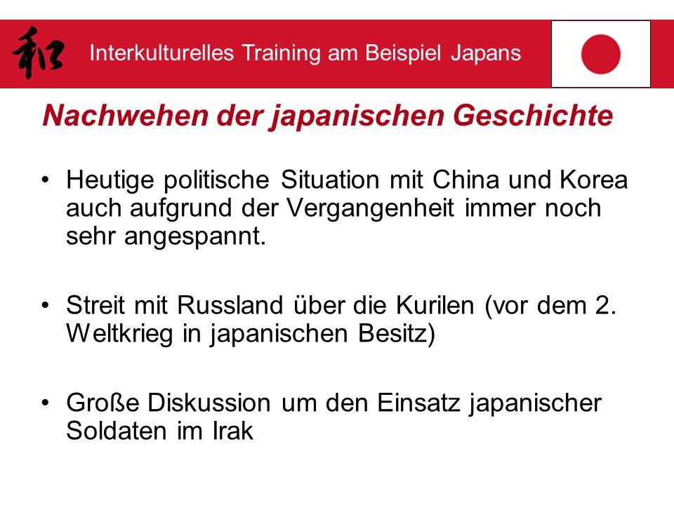 Interkulturelles Training am Beispiel Japans Nachwehen der japanischen Geschichte Heutige politische Situation mit China und Korea auch aufgrund der V
