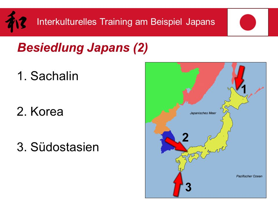 Interkulturelles Training am Beispiel Japans Besiedlung Japans (2) 1. Sachalin 2. Korea 3. Südostasien