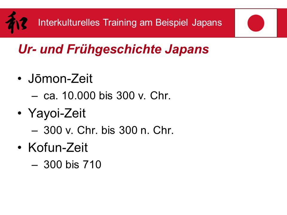 Interkulturelles Training am Beispiel Japans Ur- und Frühgeschichte Japans Jōmon-Zeit – ca. 10.000 bis 300 v. Chr. Yayoi-Zeit – 300 v. Chr. bis 300 n.