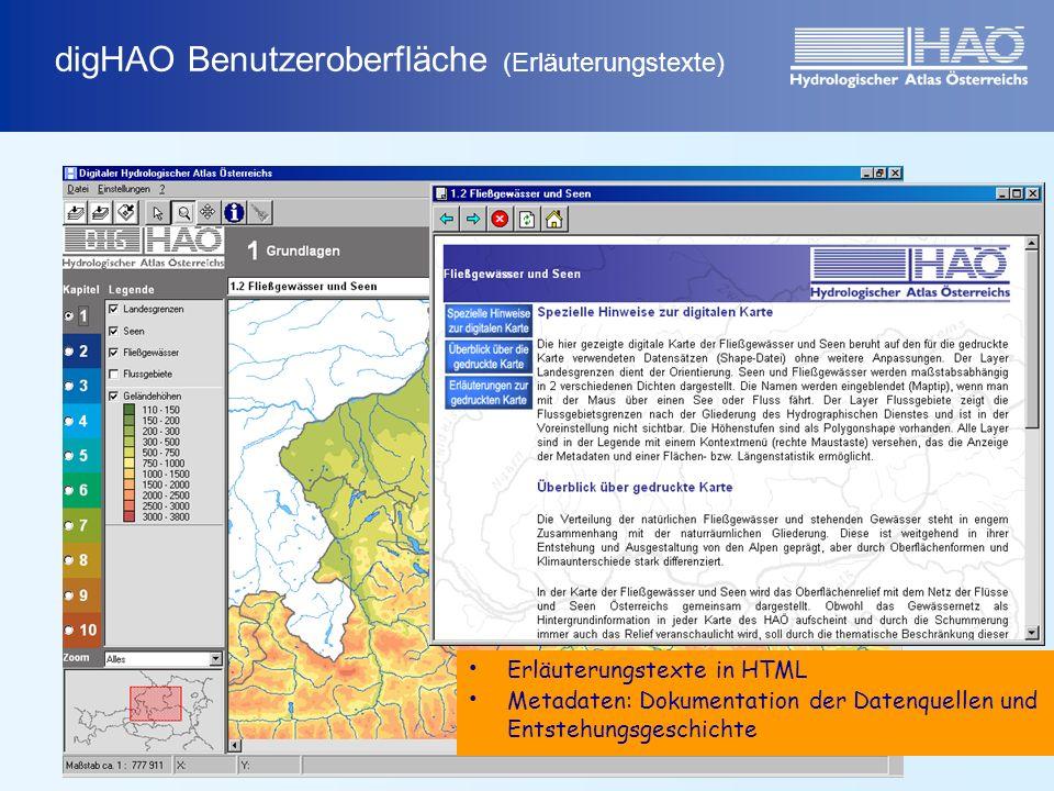 Erläuterungstexte in HTML Metadaten: Dokumentation der Datenquellen und Entstehungsgeschichte digHAO Benutzeroberfläche (Erläuterungstexte)