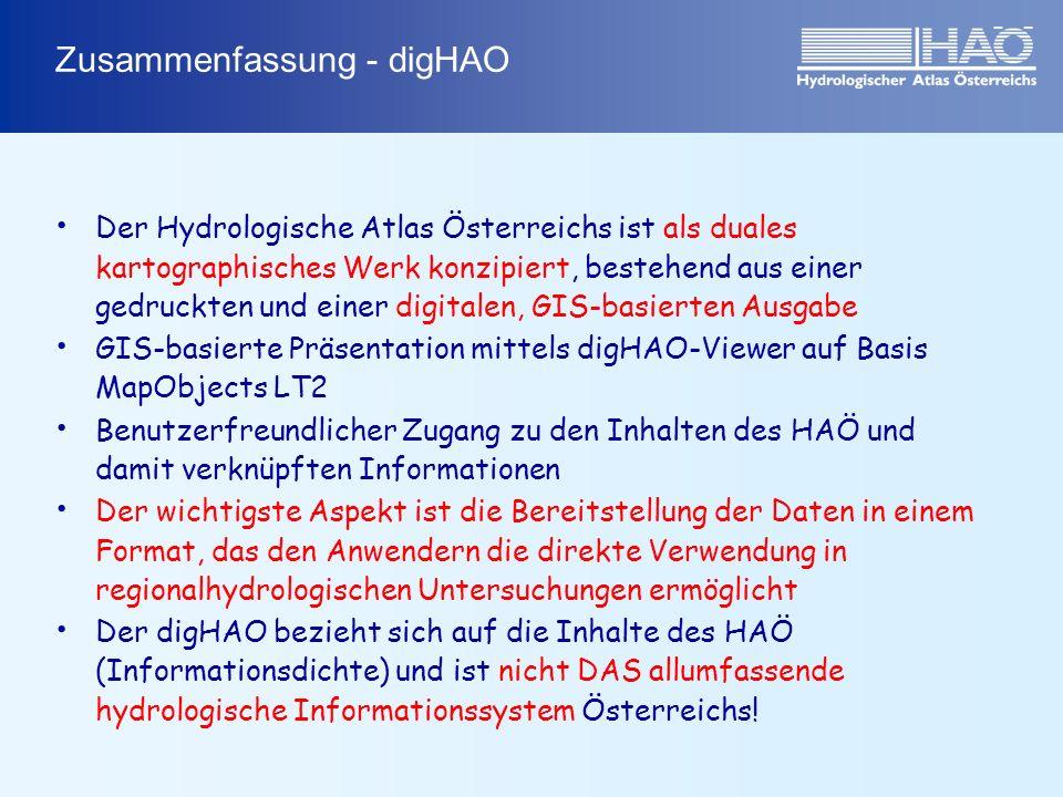 Zusammenfassung - digHAO Der Hydrologische Atlas Österreichs ist als duales kartographisches Werk konzipiert, bestehend aus einer gedruckten und einer