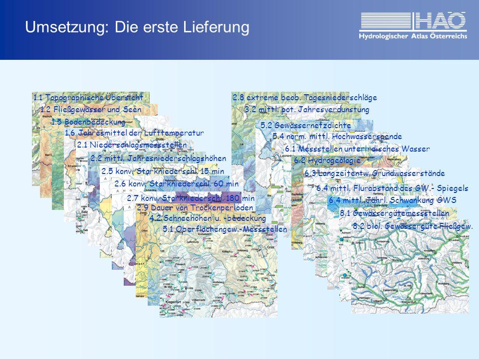 Umsetzung: Die erste Lieferung 1.1 Topographische Übersicht 1.2 Fließgewässer und Seen 1.5 Bodenbedeckung 1.6 Jahresmittel der Lufttemperatur 2.1 Niederschlagsmessstellen 2.2 mittl.