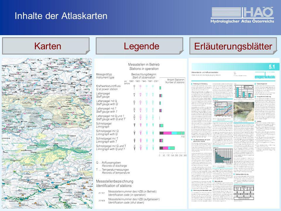 Inhalte der Atlaskarten KartenLegende Erläuterungsblätter