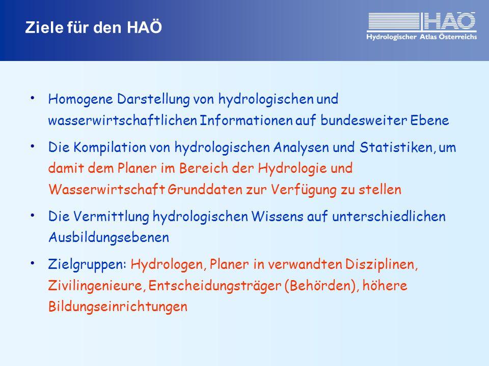 Ziele für den HAÖ Homogene Darstellung von hydrologischen und wasserwirtschaftlichen Informationen auf bundesweiter Ebene Die Kompilation von hydrolog