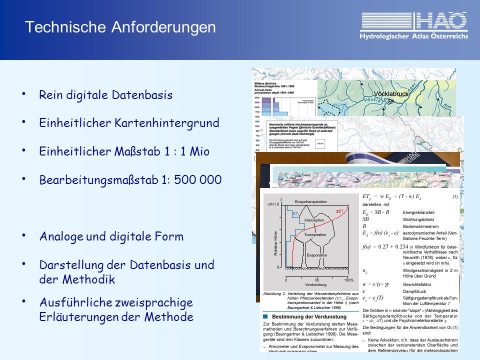 Technische Anforderungen Rein digitale Datenbasis Einheitlicher Kartenhintergrund Einheitlicher Maßstab 1 : 1 Mio Bearbeitungsmaßstab 1: 500 000 Analoge und digitale Form Darstellung der Datenbasis und der Methodik Ausführliche zweisprachige Erläuterungen der Methode