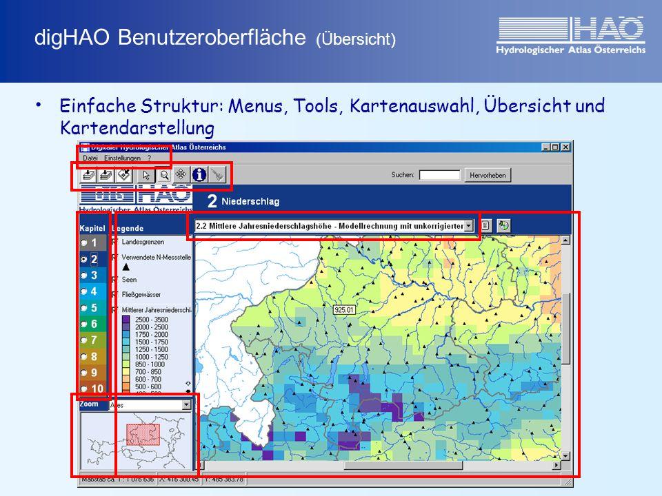 digHAO Benutzeroberfläche (Übersicht) Einfache Struktur: Menus, Tools, Kartenauswahl, Übersicht und Kartendarstellung