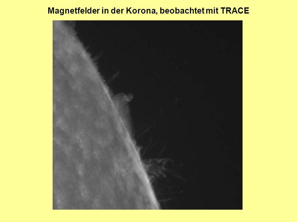 Magnetfelder in der Korona, beobachtet mit TRACE