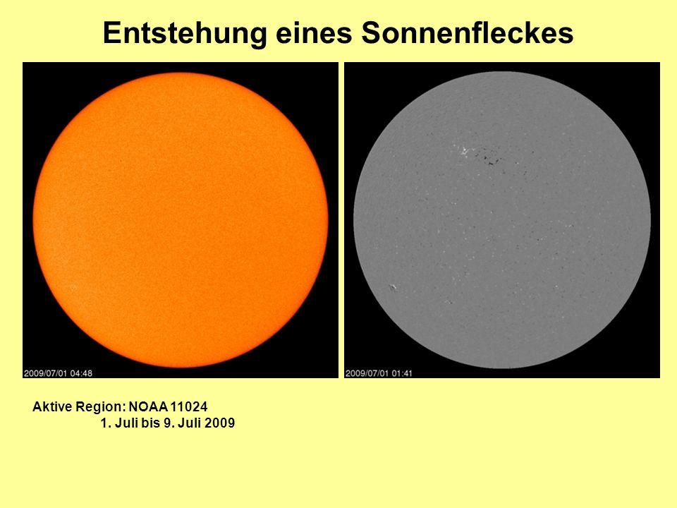 Entstehung eines Sonnenfleckes Aktive Region: NOAA 11024 1. Juli bis 9. Juli 2009
