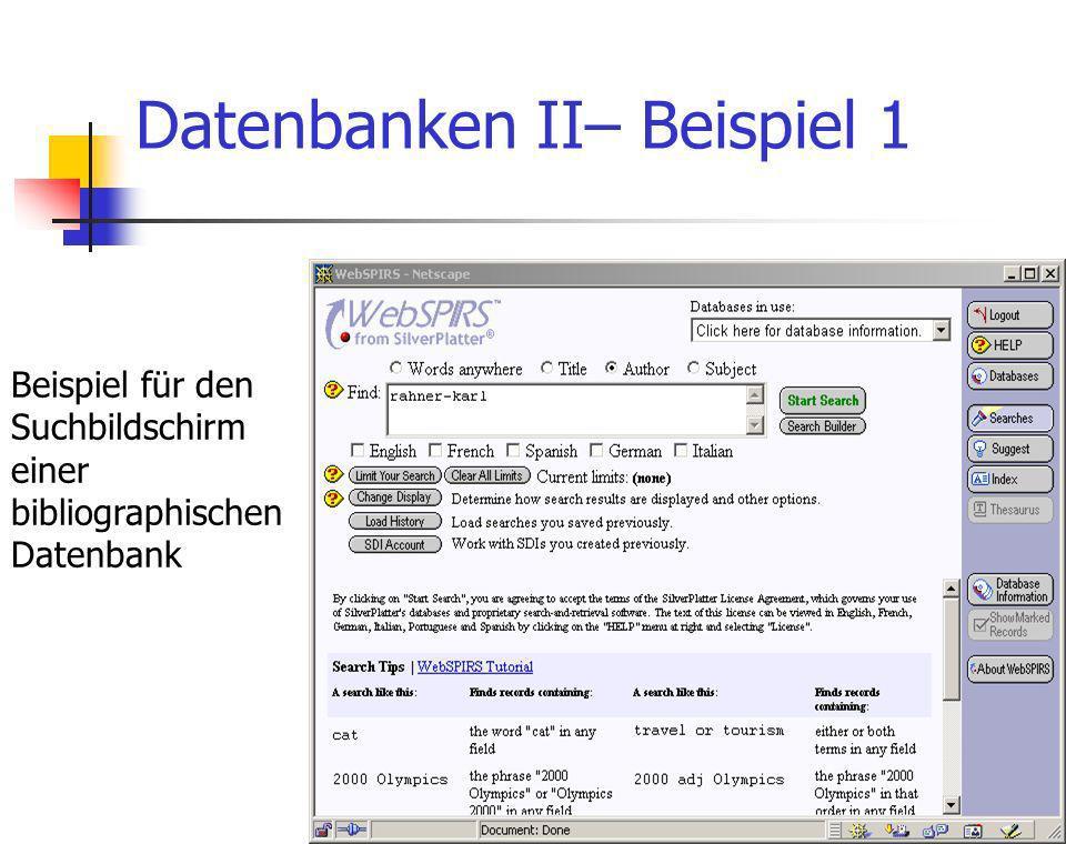 Theologische Fakultät Michael Becht10 Datenbanken II– Beispiel 1 Beispiel für den Suchbildschirm einer bibliographischen Datenbank