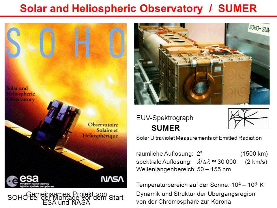 SOHO bei der Montage vor dem Start Solar and Heliospheric Observatory / SUMER EUV-Spektrograph SUMER Solar Ultraviolet Measurements of Emitted Radiati
