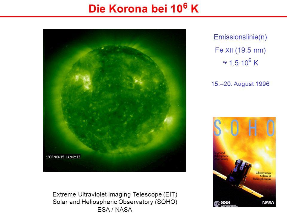 Die Korona bei 10 6 K Emissionslinie(n) Fe XII (19.5 nm) 1.5·10 6 K 15.–20. August 1996 Extreme Ultraviolet Imaging Telescope (EIT) Solar and Heliosph