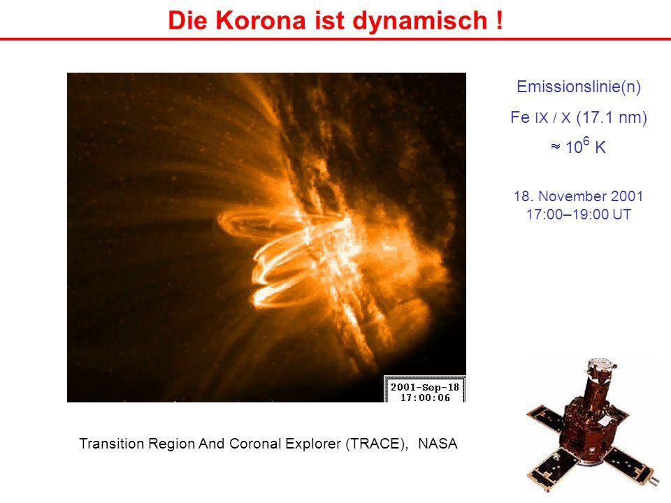 Die Korona ist dynamisch ! Transition Region And Coronal Explorer (TRACE), NASA Emissionslinie(n) Fe IX / X (17.1 nm) 10 6 K 18. November 2001 17:00–1