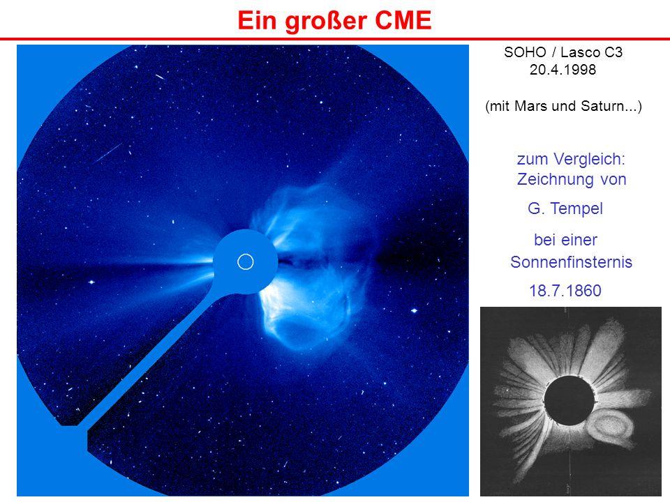 Ein großer CME SOHO / Lasco C3 20.4.1998 (mit Mars und Saturn...) zum Vergleich: Zeichnung von G. Tempel bei einer Sonnenfinsternis 18.7.1860