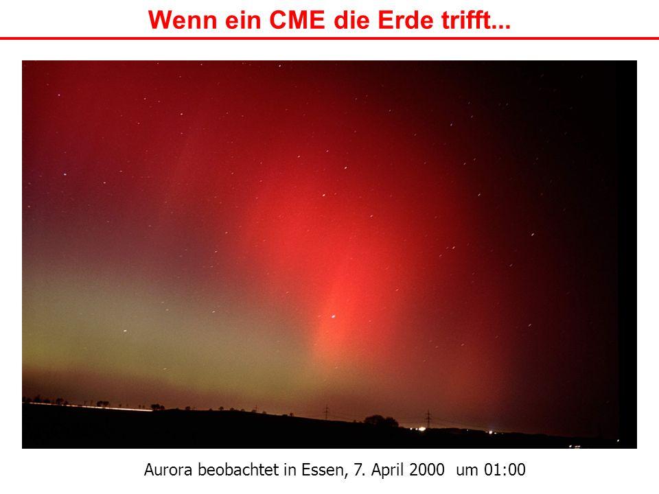Wenn ein CME die Erde trifft... Aurora beobachtet in Essen, 7. April 2000 um 01:00