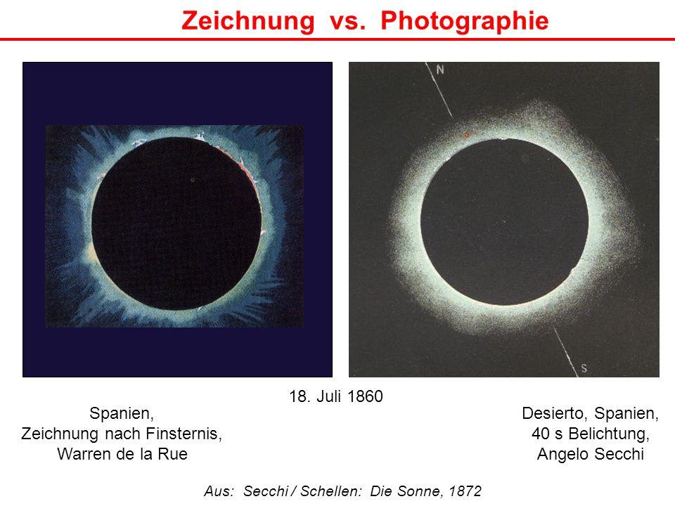 Zeichnung vs. Photographie Aus: Secchi / Schellen: Die Sonne, 1872 Desierto, Spanien, 40 s Belichtung, Angelo Secchi Spanien, Zeichnung nach Finsterni