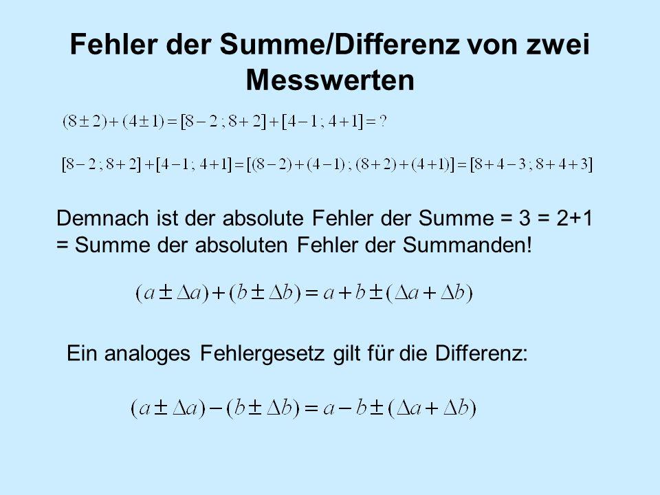 Fehler der Summe/Differenz von zwei Messwerten Demnach ist der absolute Fehler der Summe = 3 = 2+1 = Summe der absoluten Fehler der Summanden! Ein ana