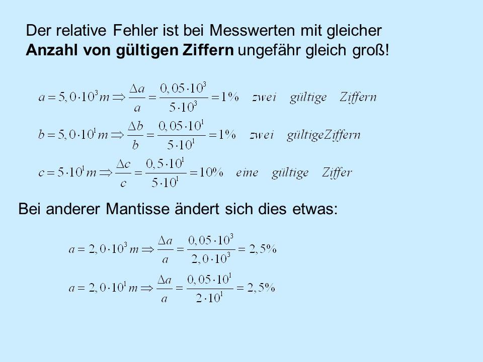 Der relative Fehler ist bei Messwerten mit gleicher Anzahl von gültigen Ziffern ungefähr gleich groß! Bei anderer Mantisse ändert sich dies etwas: