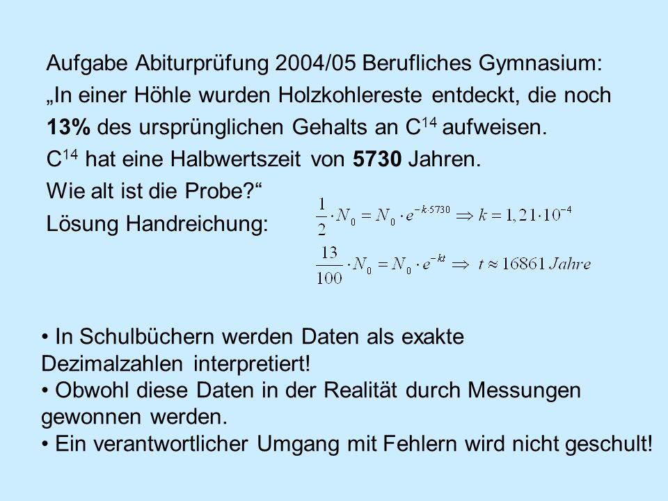 Aufgabe Abiturprüfung 2004/05 Berufliches Gymnasium: In einer Höhle wurden Holzkohlereste entdeckt, die noch 13% des ursprünglichen Gehalts an C 14 au