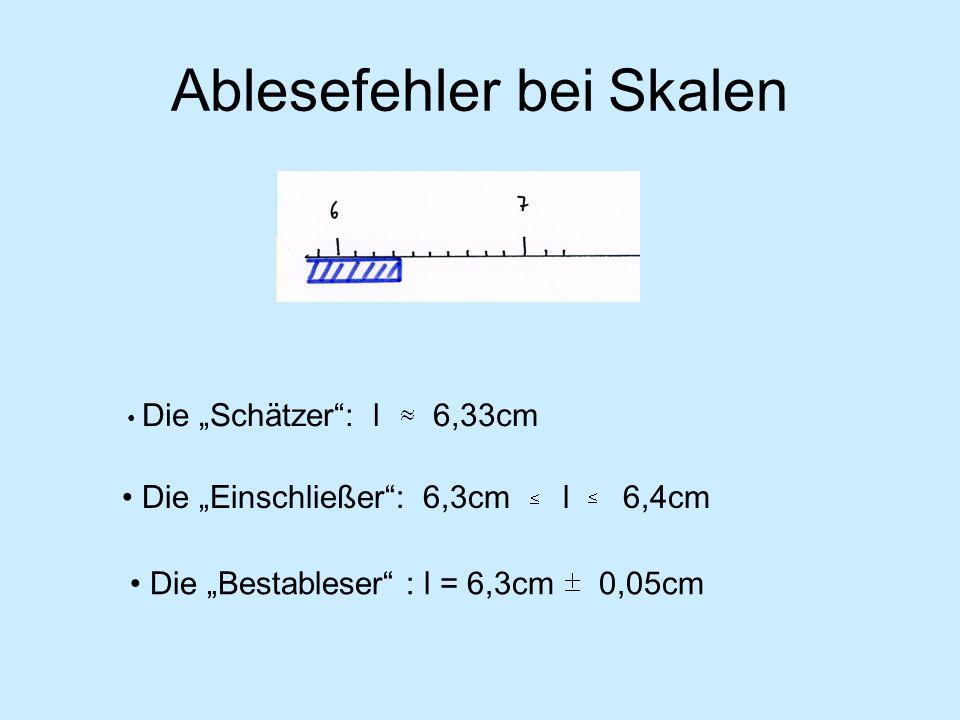 Ablesefehler bei Skalen Die Schätzer: l 6,33cm Die Bestableser : l = 6,3cm 0,05cm Die Einschließer: 6,3cm l 6,4cm