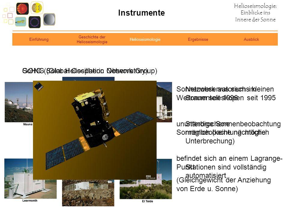 Helioseismologie: Einblicke ins Innere der Sonne Instrumente GONG (Global Oscillation Network Group)SoHO (Solar Heliospheric Observatory) Netzwerk aus
