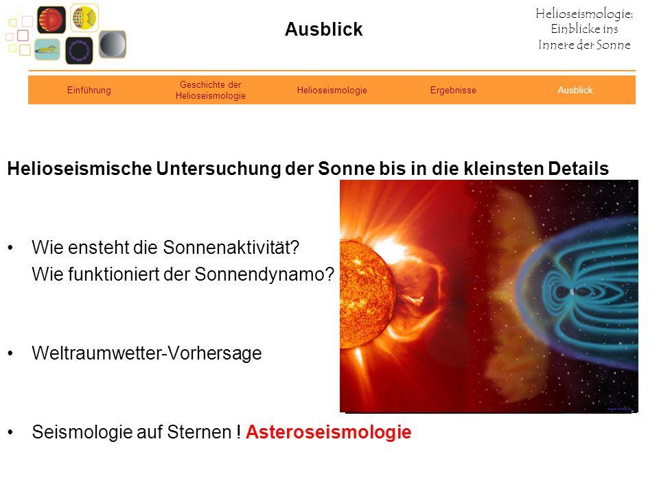 Helioseismologie: Einblicke ins Innere der Sonne Ausblick Helioseismische Untersuchung der Sonne bis in die kleinsten Details Wie ensteht die Sonnenak