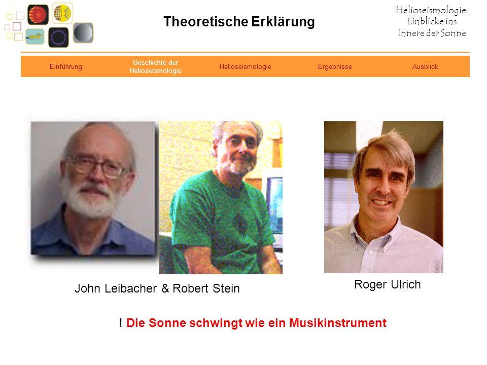 Helioseismologie: Einblicke ins Innere der Sonne Theoretische Erklärung John Leibacher & Robert Stein Roger Ulrich ! Die Sonne schwingt wie ein Musiki