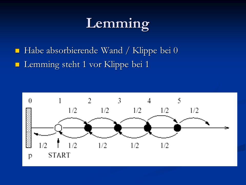 Lemming Habe absorbierende Wand / Klippe bei 0 Habe absorbierende Wand / Klippe bei 0 Lemming steht 1 vor Klippe bei 1 Lemming steht 1 vor Klippe bei 1