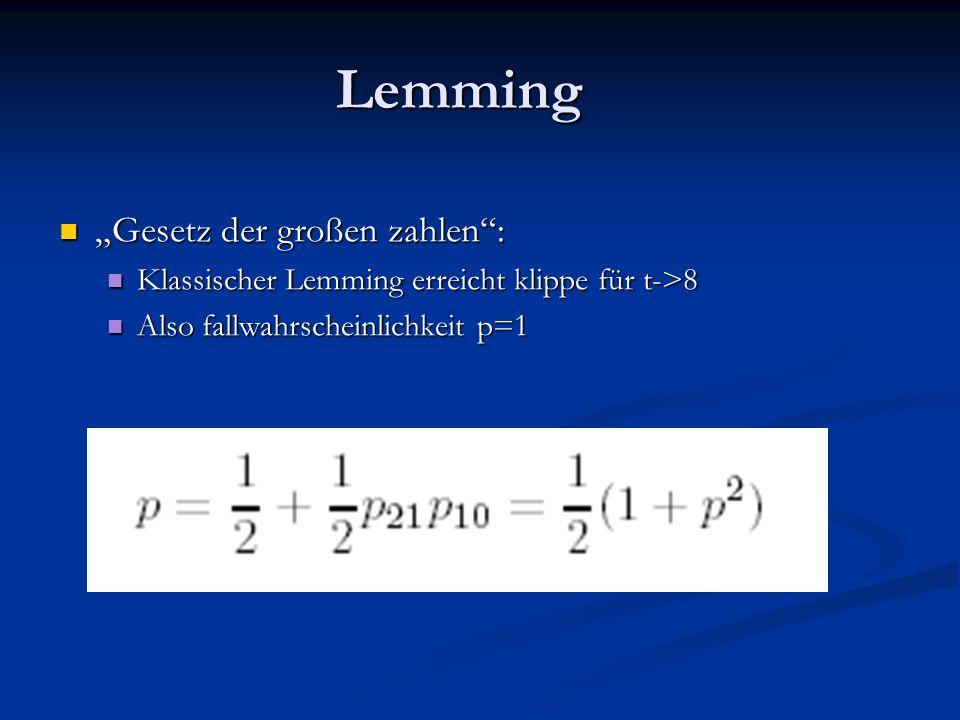 Lemming Gesetz der großen zahlen: Gesetz der großen zahlen: Klassischer Lemming erreicht klippe für t->8 Klassischer Lemming erreicht klippe für t->8 Also fallwahrscheinlichkeit p=1 Also fallwahrscheinlichkeit p=1