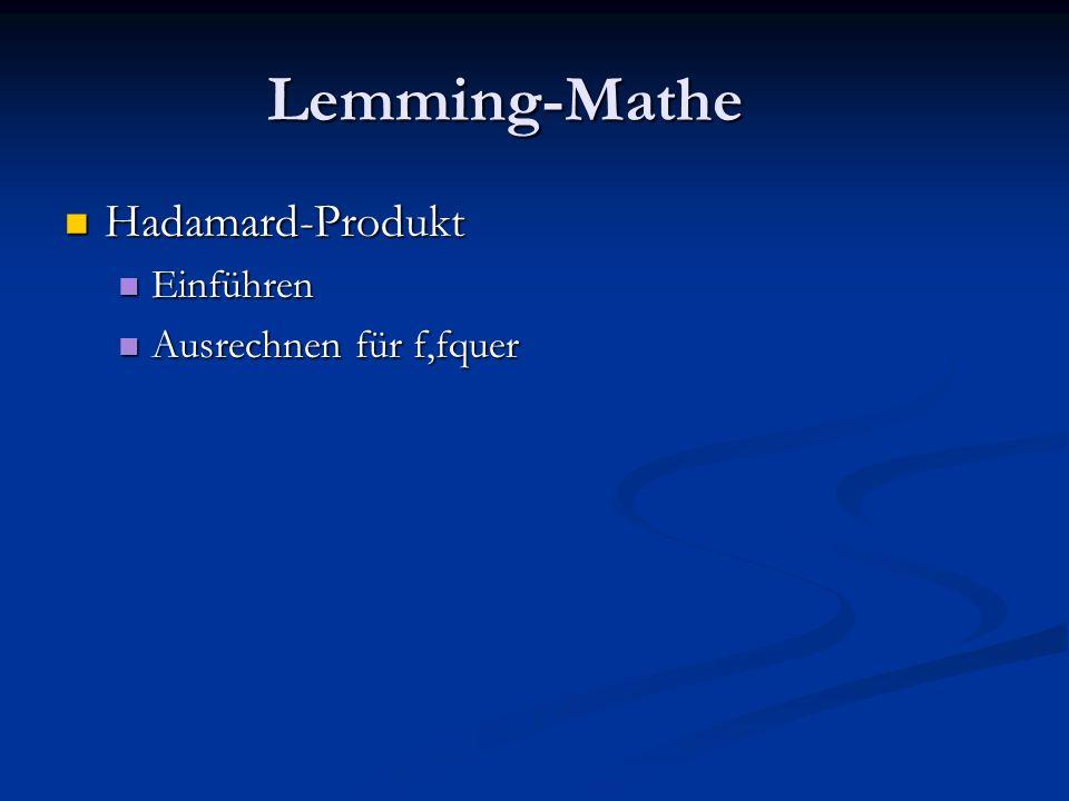 Lemming-Mathe Hadamard-Produkt Hadamard-Produkt Einführen Einführen Ausrechnen für f,fquer Ausrechnen für f,fquer