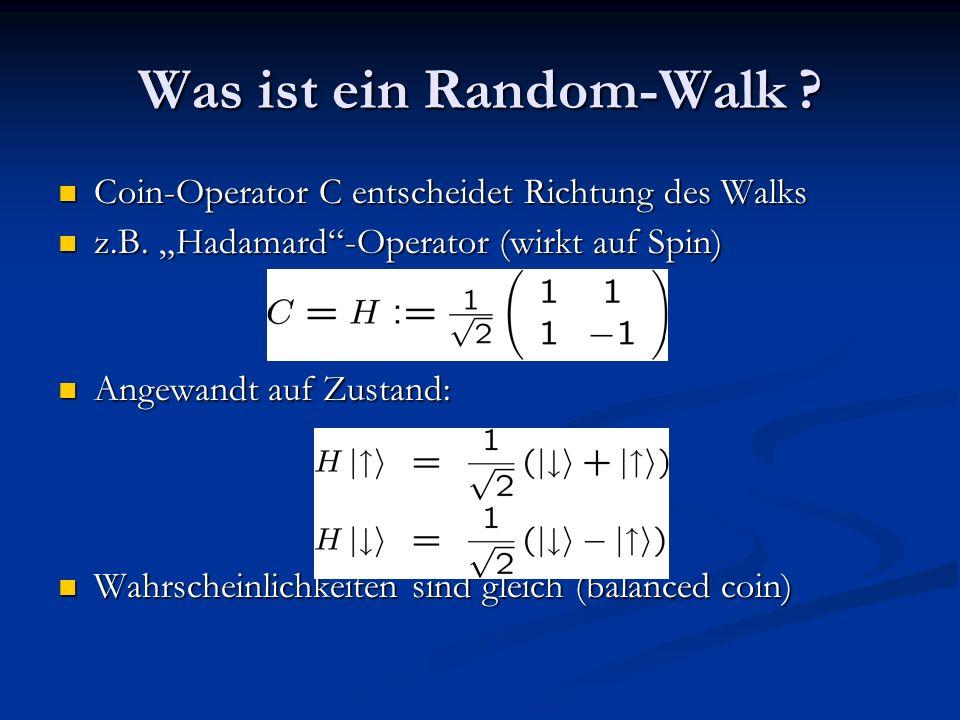 Coin- & Shift-Operator Anwenden des shift-operators S : Anwenden des shift-operators S : Bewirkt Verschiebung um 1 nach links/rechts Bewirkt Verschiebung um 1 nach links/rechts (abhängig vom Spin) Ausführen des gesamten Schrittes durch U: Ausführen des gesamten Schrittes durch U: