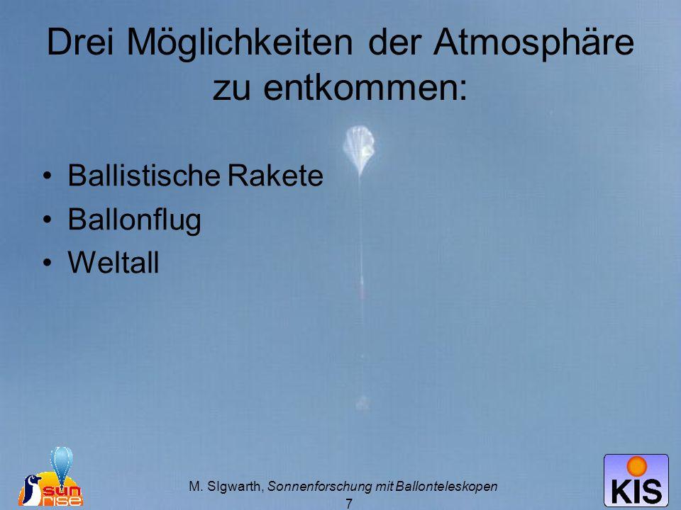 M. SIgwarth, Sonnenforschung mit Ballonteleskopen 7 Drei Möglichkeiten der Atmosphäre zu entkommen: Ballistische Rakete Ballonflug Weltall