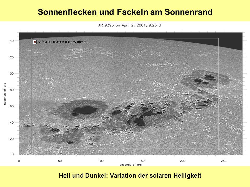 Sonnenflecken und Fackeln am Sonnenrand Hell und Dunkel: Variation der solaren Helligkeit