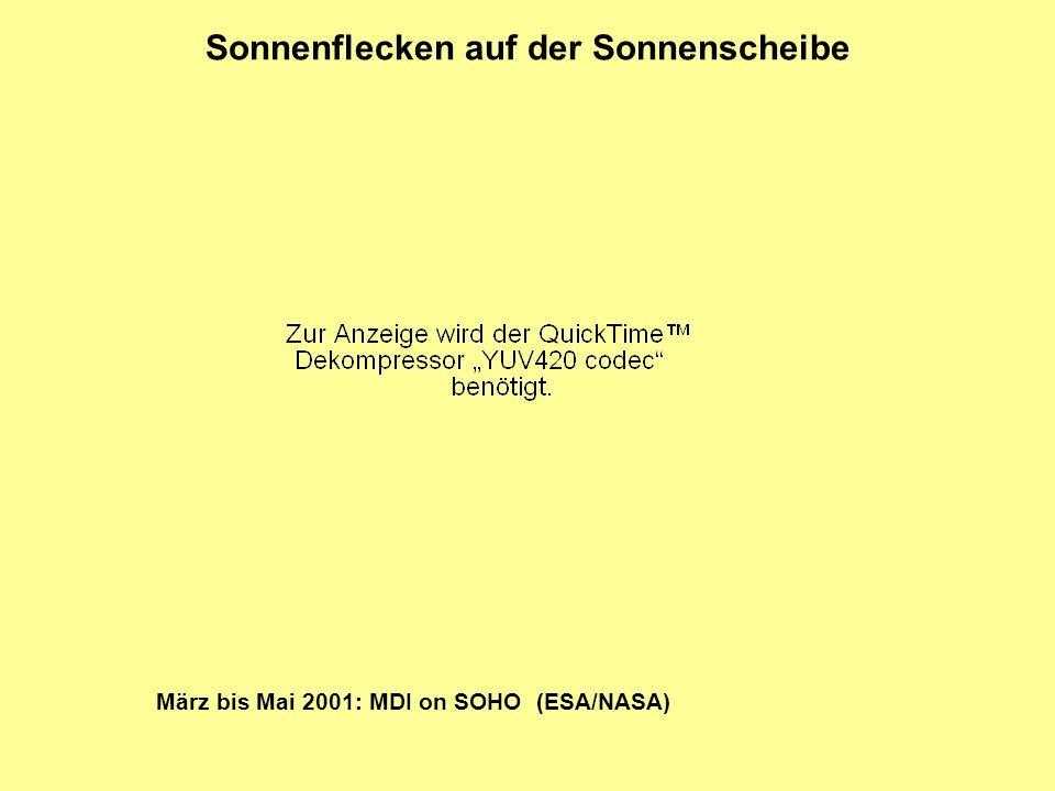 Sonnenflecken auf der Sonnenscheibe März bis Mai 2001: MDI on SOHO (ESA/NASA)