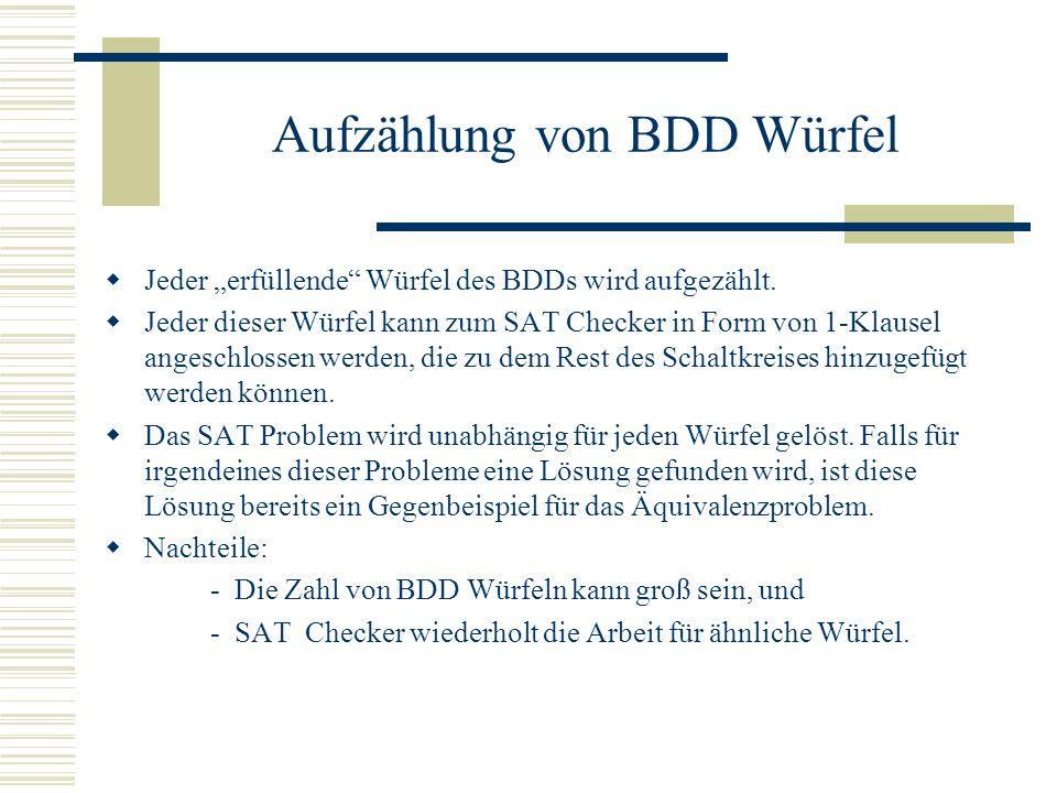 Aufzählung von BDD Würfel Jeder erfüllende Würfel des BDDs wird aufgezählt. Jeder dieser Würfel kann zum SAT Checker in Form von 1-Klausel angeschloss