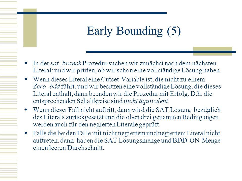 Early Bounding (5) In der sat_branch Prozedur suchen wir zunächst nach dem nächsten Literal; und wir prüfen, ob wir schon eine vollständige Lösung hab