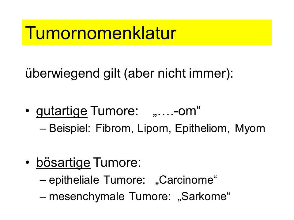 Tumornomenklatur überwiegend gilt (aber nicht immer): gutartige Tumore: ….-om –Beispiel: Fibrom, Lipom, Epitheliom, Myom bösartige Tumore: –epithelial