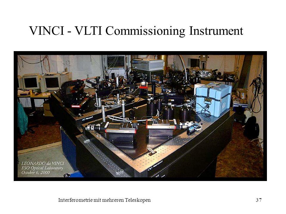 Interferometrie mit mehreren Teleskopen37 VINCI - VLTI Commissioning Instrument