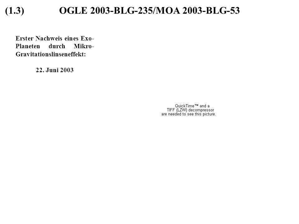 OGLE 2003-BLG-235/MOA 2003-BLG-53 Erster Nachweis eines Exo- Planeten durch Mikro- Gravitationslinseneffekt: 22. Juni 2003 (1.3)
